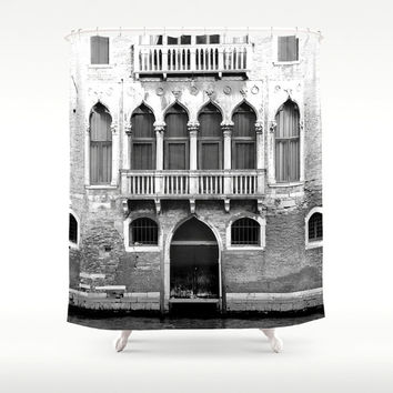 Shower Curtain - Venice Italy - Italy Shower Curtain - Photo Shower Curtain - Venice Shower Curtain - Black and White Italy - Gifts for Her