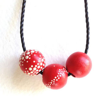 AMANITA - Hand Painted Modern Dot Necklace Red and White Wooden Beads