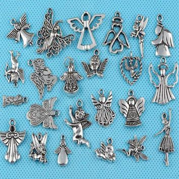 Girl Prayer Angel Charms Vintage Silver Alloy  Hollow Flying Angel Pendant For Jewelry Making Bracelet Mixed Style Crafts Gifts