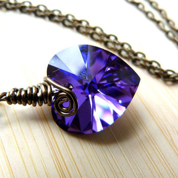 Purple Violet Heart Swarovski Crystal Pendant Necklace