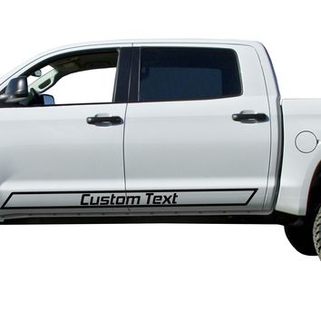 Custom Text door stripes Decals Vinyl Stickers Bedside Set fits Toyota Tundra