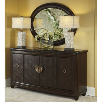 American Drew Bob Mackie Granite Top Credenza w/ Oval Mirror in Dark Brown