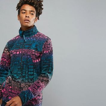 O'Neill Reissue 91 Extreme Full Zip Fleece Jacket Print in Blue/Pink at asos.com