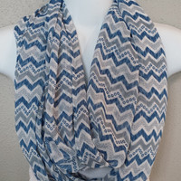 Blue Grey Chevron Infinity Scarf with Metallic Accents Spring Scarf Chevron Scarves Fashion Scarf Womens Scarves Zig Zag Scarf Eternity Loop