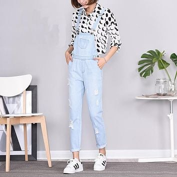 YERAD Women's Ripped Denim Jumpsuits Casual Sexy Stretchy Romper Plus Size Ladies's Denim Pencil Overalls