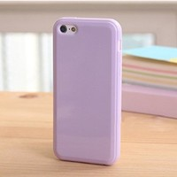 iPhone 5C Jelly Case, ANLEY Candy Fusion Series - [1.5mm Slim Fit] [Shock Absorption] Classic Jelly Silicone Case Soft Cover for iPhone 5C (Lavender Purple) + Free Ultra Clear Screen Protector Film
