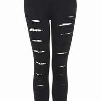 MOTO Black Super Ripped Jamie Jeans - Black