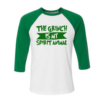 The Grinch is My Spirit Animal (Green) Baseball Tee