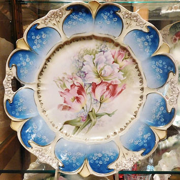 """RS Prussia Large Charger 11"""" 1900s Art Nouveau Victorian Antque Porcelain R S Prussia Cake Plate Platter Plate Rare Large Size RS Prussia"""