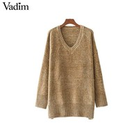 Thick warm V neck chenille sweaters long sleeve winter autumn basic loose pullovers ladies causal tops