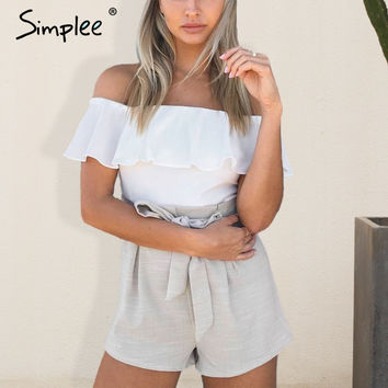 Simplee Off shoulder bodysuit women jumpsuit romper 2016 christmas Bodycon white overalls Zipper ruffle playsuit beach leotard