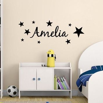 Wall Decal Stars Kids Personalized Name Bedroom Vinyl Wall Decor Removable Art Sticker for Kids Nursery Room Wall Decal YM-140