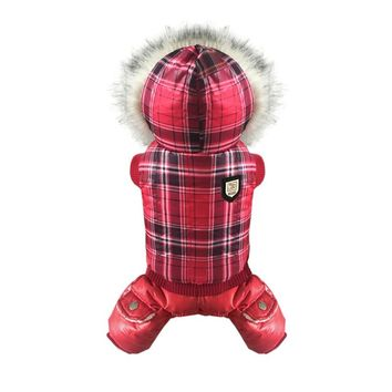New Red Plaid Hooded Winter Dog Clothes Thick Dog Jacket Chihuahua Puppy Pet Warm Winter Coat Dog Costume S-XL