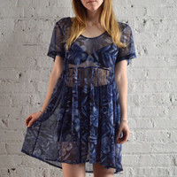 Blue Sheer Floral Dress - S/M