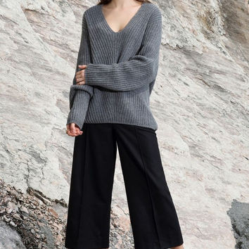 Oversized High Low Wool Blend Sweater