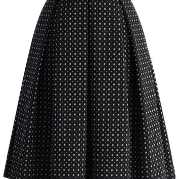 Sweet Your Heart Jacquard Midi Skirt in Polka Dots