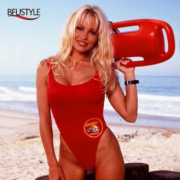 BFUSTYLE Classic USA BAYWATCH Swimsuit Women Sexy Red Bathing Suit One Piece Bather Swimwear Thong Swimming Suits