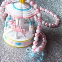 Pastel Fantasy - Glass Pearl Necklace with Carousel and Transparent Bow Charm