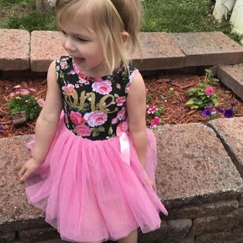 """Pretty Baby Girl """"One"""" Floral Birthday Dress with Pink Tulle Skirt.     In Sizes 12Mo, 2T, 3T and 4T.   ***FREE SHIPPING***"""