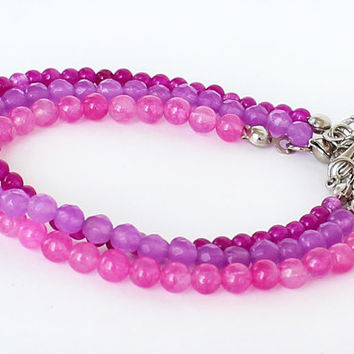 Purple pink fuchsia gemstones bracelet set of 3 bracelet hippie boho birthday gift best friend gift for her