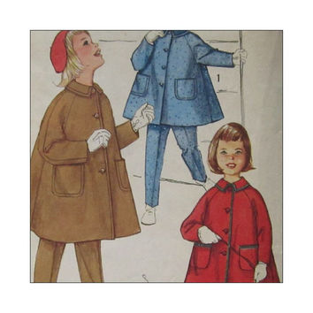 1960's Vintage Pattern Simplicity 3654 Girls  Coat Tapered Pants  with Supsenders and Hat in Size 3