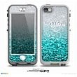 The Aqua Blue & Silver Glimmer Fade Name Script Skin for the iPhone 5-5s nüüd LifeProof Case