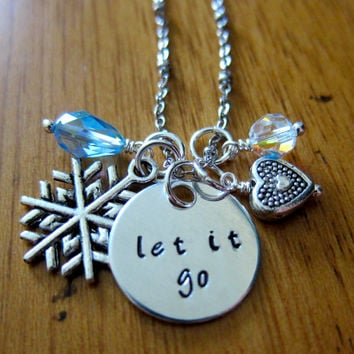 "Disney's ""Frozen"" Inspired Elsa ""Let It Go"" Necklace, Charm Pendant. Silver colored, Swarovski blue crystal, for women or girls."