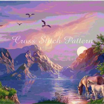Cross Stitch Pattern Design Sunset Landscape