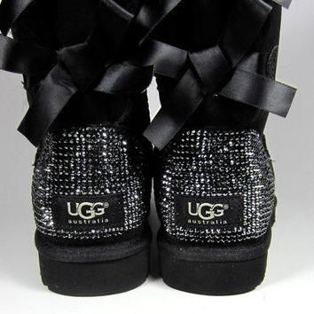 Toddler, Little Kid, and Youth UGG Black Bailey Bow Sheepskin Boots with Swarovski Cry