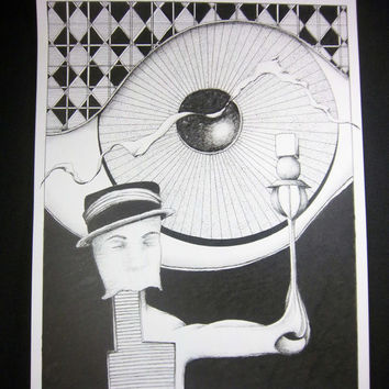 """Original pen and ink drawing, pen and ink art, surreal art, black and white, storybook art  8x10 original art """"Abner - Father of Light"""""""