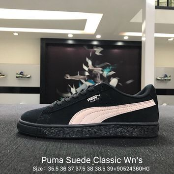 Puma Suede Classic  Wn's Black Borwn Causel Skateboarding Shoes Sneaker - 355462-66