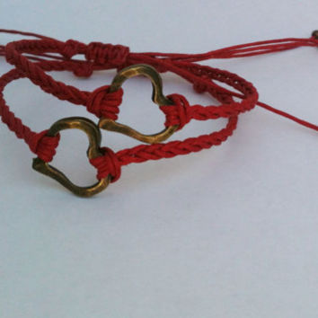 Matching Bronze Heart Braided Bracelets You Choose Color Friendship Bracelets Lovers Bracelets