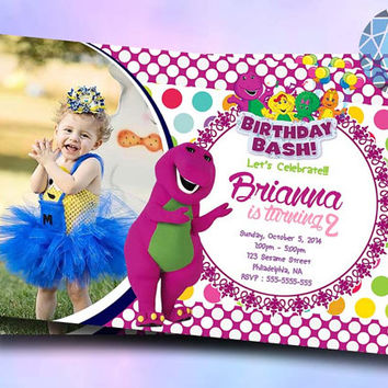Barney Purple Monster Design For Birthday Invitation on SaphireInvitations