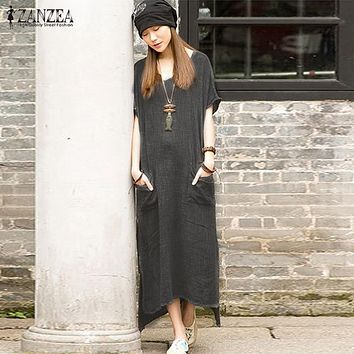 ZANZEA Women 2017 Summer Vintage Casual Loose Long Dress Cotton Linen Solid Short Sleeve Ankle Length Irregular Dress Plus Size