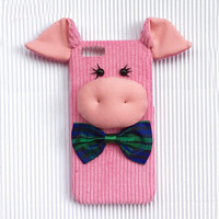 Designer 3D Pink Pig Iphone Cases Custom Cover