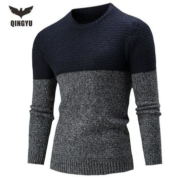 Sweater Men 2017 Brand Pullovers Casual Sweater Male O-Neck Two-Color Stitching Slim Fit Knitting Mens Sweaters Man Pullover Men