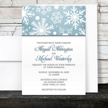 Winter Snowflake Wedding Invitations and RSVP cards - Blue White Snowflake Modern Winter - Printed Invitations