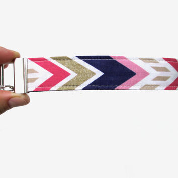Navy, Pink, & Gold Chevron Key Fob Wristlet // Wrist Key Holder // Back to School // Wristlet Key Chain // Chevron Key Fob // Fall Chevron