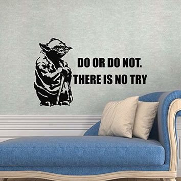 Yoda Wall Decals Quote - Quote Wall Decor - Star Wars Wall Sticker - Star Wars - Quote Star Wars Nursery - Art Vinyl Sticker - Home Decor - Boys Room - Nursery Wall Decor MN913
