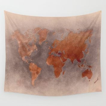 World map 7 brown Wall Tapestry by jbjart
