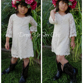 Champagne Bohemian Flower Girl. Mini Floral Lace. Destination Wedding. Beach Flower Girl. Floral Lace Dress. Size 2T-8T