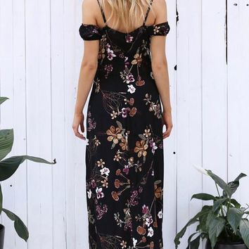 Black Flowers Spaghetti Strap Hollow-out Cleavage Maxi Dress