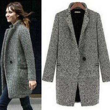 Houndstooth Long-line Jacket