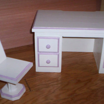 Doll school teacher desk and chair Handcrafted for American Girl 18 inch doll white with purple trim