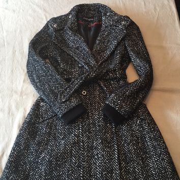 Express black and white wool trench coat