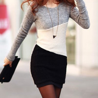 Light Gray Long Sleeve Bodycon Mini Dress