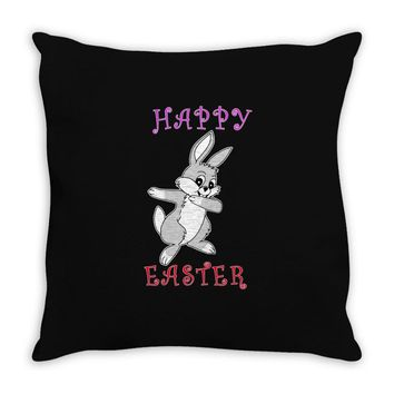 dabbing bunny happy easter Throw Pillow