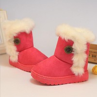 Winter Children Boots Thick Cotton-Padded Shoes -resistant Buckle Suede Boots Plush Girls Boots