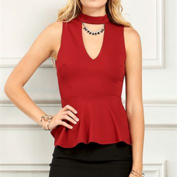 Cutout Sleeveless Peplum Top