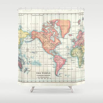 World Map Shower Curtain - Historical vintage map of continents, colorful,  Home Decor - Bathroom - geography, history, travel, cream, green